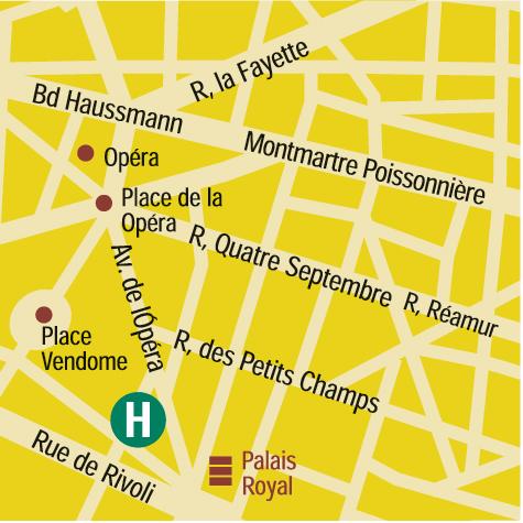 Plano de acceso de Hotel Des Tuileries (75001)