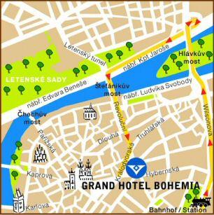 Plano de acceso de Grand Hotel Bohemia