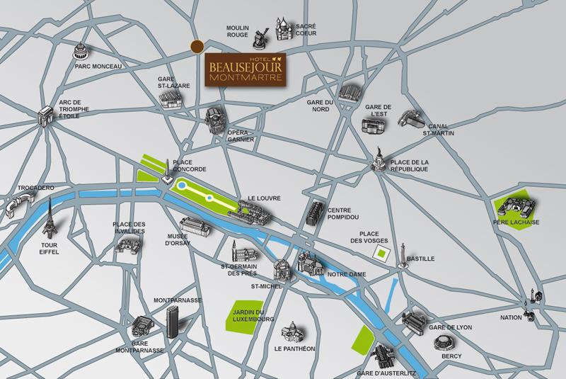 Plano de acceso de Hotel Beausejour Montmartre