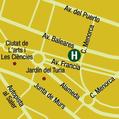 Plano de acceso de Hotel Ac Valencia