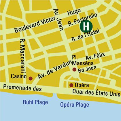 Plano de acceso de Hotel Vendome