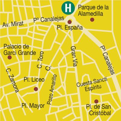 Plano de acceso de Hotel Alameda Palace