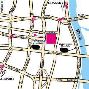 Plano de acceso de Hotel Mercure Fryderyk Chopin