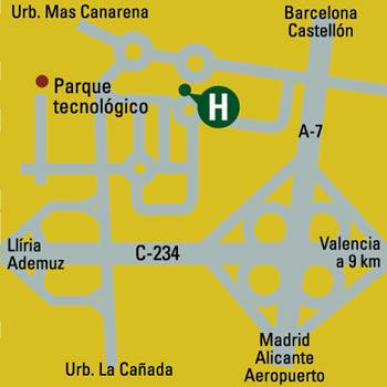 Plano de acceso de Hotel Husa Mas Camarena