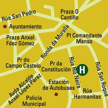 Plano de acceso de Hotel Husa Puerta De San Pedro