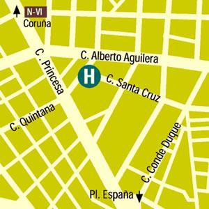 Plano de acceso de Hotel Husa Moncloa