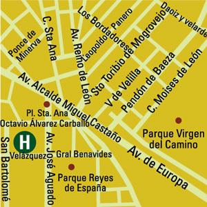 Plano de acceso de Hotel Eurostars Leon