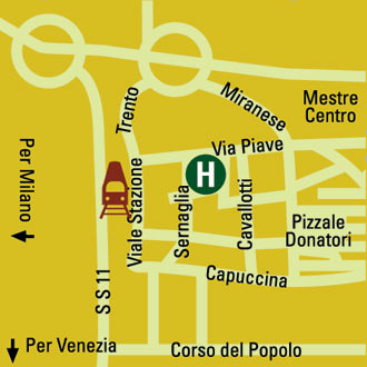 Plano de acceso de Hotel Piave