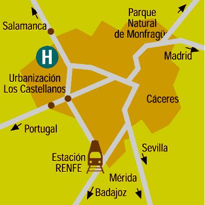 Plano de acceso de Hotel Barcelo Caceres V Centenario