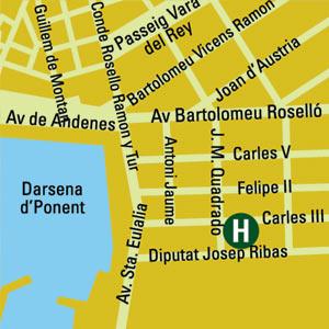 Plano de acceso de Apartamentos El Puerto