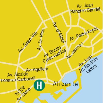 Plano de acceso de Hotel Campanile Alicante