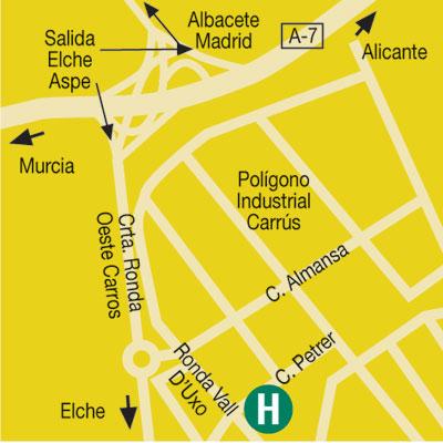 Plano de acceso de Hotel Campanile Elche
