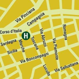Plano de acceso de Hotel Victoria Roma