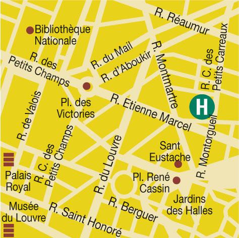 Plano de acceso de Hotel Victoires Opera (75002)