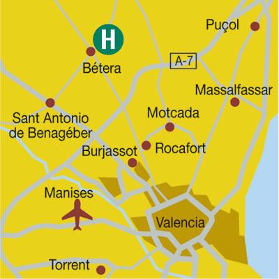 Plano de acceso de Hotel Valencia Golf