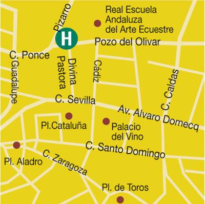 Plano de acceso de Hotel Prestige Palmera Plaza