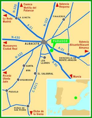 Plano de acceso de Hotel Parador Albacete