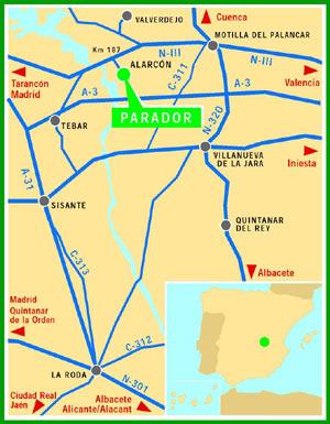 Plano de acceso de Hotel Parador Alarcon