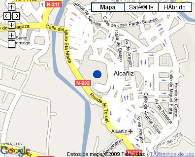 Plano de acceso de Hotel Parador Alcañiz