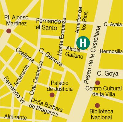 Plano de acceso de Hotel Amador De Los Rios