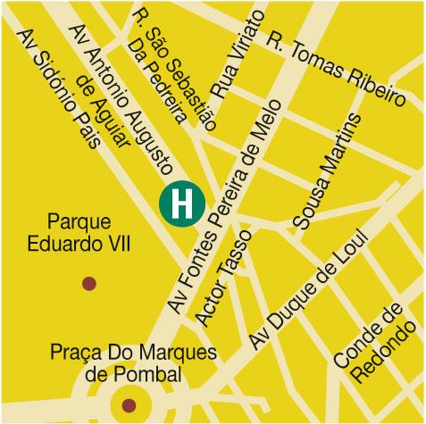 Plano de acceso de Sana Lisboa Hotel