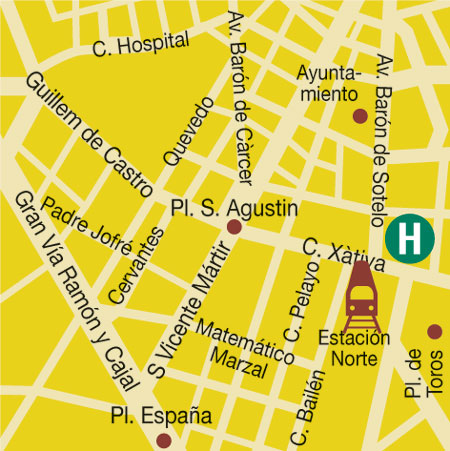 Plano de acceso de Hotel Sorolla Centro