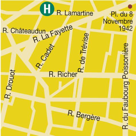 Plano de acceso de Hotel Villa Opera Lamartine (75009)