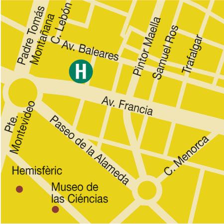 Plano de acceso de Hotel Valencia Center