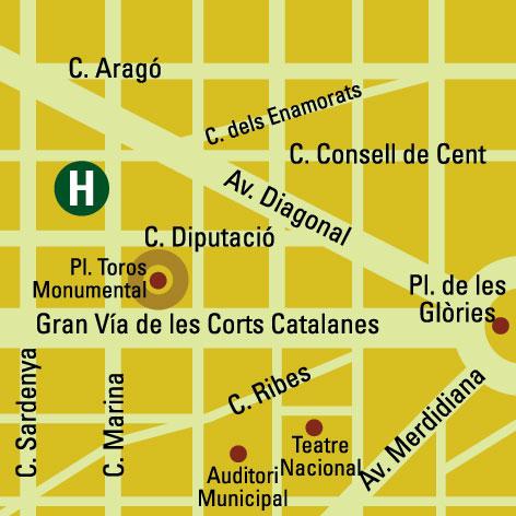 Plano de acceso de Hotel Eurostars Gaudi