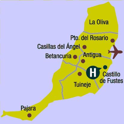 Plano de acceso de Hotel Elba Castillo Antigua And Suites