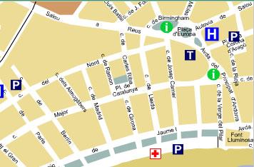 Plano de acceso de Hotel Aptos Cye Salou