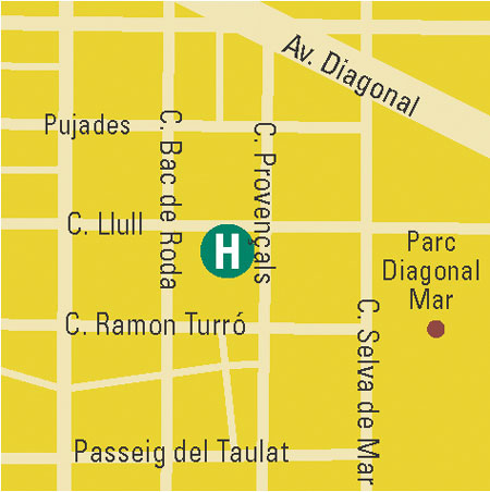 Plano de acceso de Hotel Attica 21 Barcelona Mar