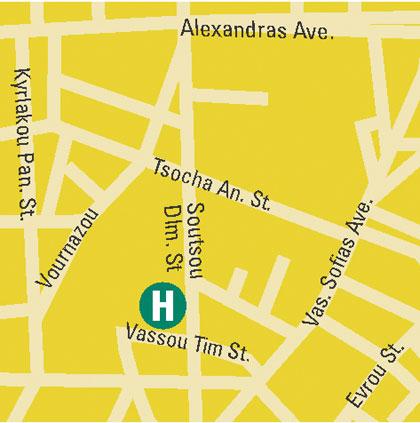 Plano de acceso de Alexandros Hotel