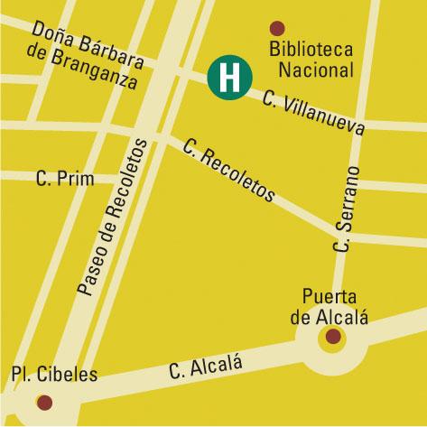 Plano de acceso de Aparthotel Recoletos