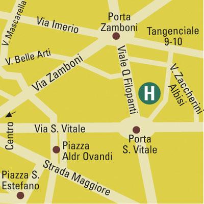 Plano de acceso de Aemilia Hotel Bologna