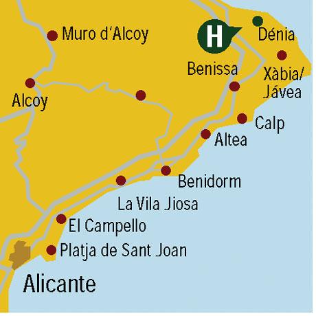 Plano de acceso de Hotel Adsubia