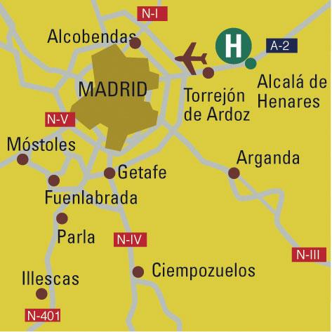 Plano de acceso de Hotel Campanile Madrid Alcala Henares
