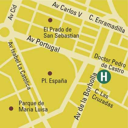 Plano de acceso de Pasarela Hotel