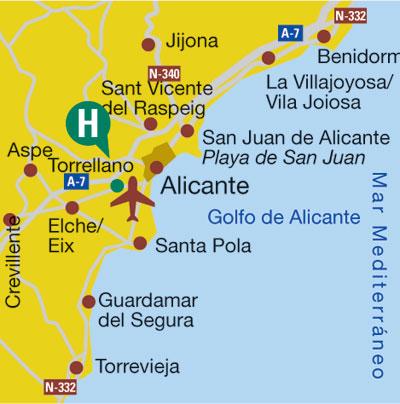 Plano de acceso de Hotel Areca