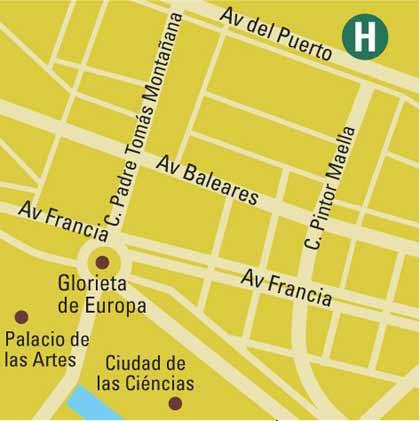 Plano de acceso de Hotel Solvasa Valencia