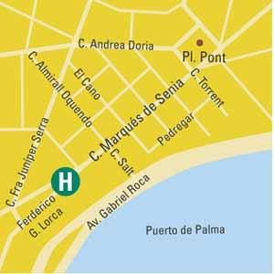 Plano de acceso de Hotel Armadams