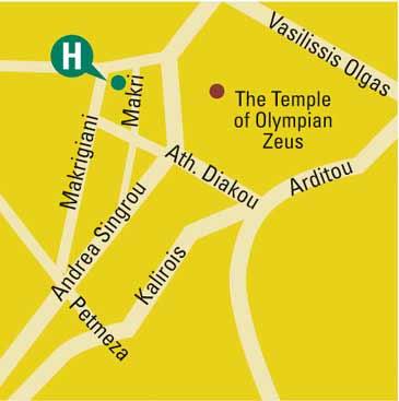 Plano de acceso de Parthenon Hotel