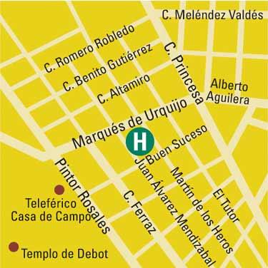 Plano de acceso de Aparto-Hotel Rosales