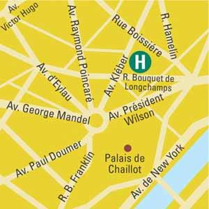 Plano de acceso de Hotel Villa Des Ambassadeurs (75016)