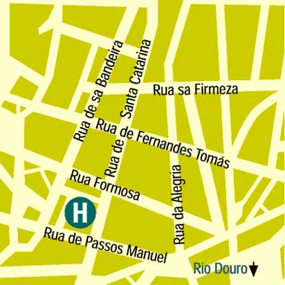 Plano de acceso de Grande Hotel Do Porto