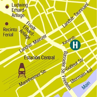 Plano de acceso de Hotel Frankfurt(Ambassadors)