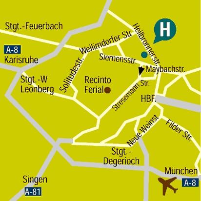 Plano de acceso de Kongresshotel Europe