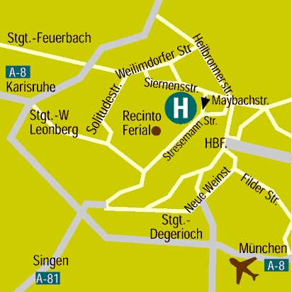 Plano de acceso de Messehotel Europe
