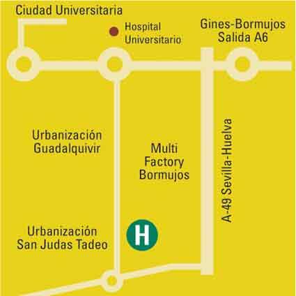 Plano de acceso de Hotel Aptos. Luxsevilla Bormujos