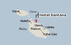 Plano de acceso de Santana Hotel